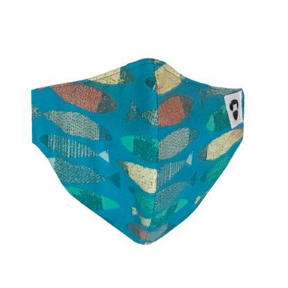 Frontal de mascarilla para barbudos con diseño de peces