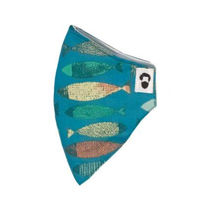 Lateral de mascarilla para barbudos con diseño de peces
